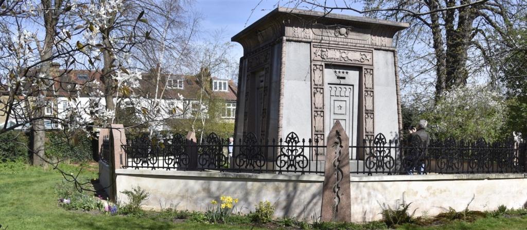 A decorative mausoleum