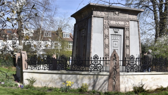 A decorative mausoleum
