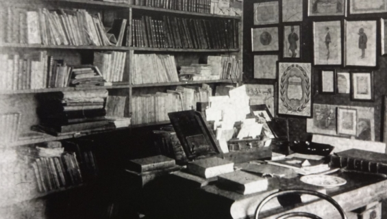 Black and white image of a study